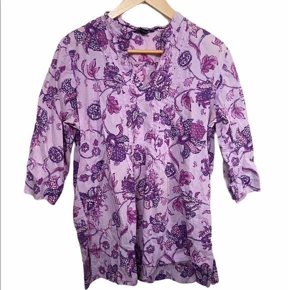 Lands' End purple floral pattern M 100% cotton top